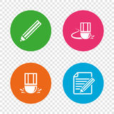 Pencil icon. Edit document file. Eraser sign. Royalty Free Stock Photography