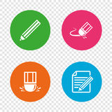 Pencil icon. Edit document file. Eraser sign. Stock Image