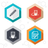 Pencil icon. Edit document file. Eraser sign. Hexagon buttons. Pencil icon. Edit document file. Eraser sign. Correct drawing symbol. Labels with shadow. Vector Royalty Free Stock Image