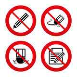 Pencil icon. Edit document file. Eraser sign. No, Ban or Stop signs. Pencil icon. Edit document file. Eraser sign. Correct drawing symbol. Prohibition forbidden Royalty Free Stock Photography
