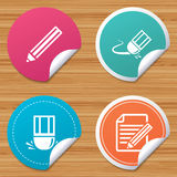 Pencil icon. Edit document file. Eraser sign. Round stickers or website banners. Pencil icon. Edit document file. Eraser sign. Correct drawing symbol. Circle Royalty Free Stock Photos
