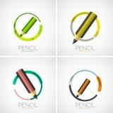 Pencil icon set, company logo, minimal design Stock Photos