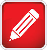 Pencil icon. Stock Image - red icon with a pencil Stock Photos