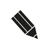 Pencil Icon Vector in a flat design on a white background Stock Photos