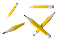 Pencil icons set. 3D render of Pencil icons set on white background Royalty Free Stock Photography