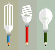 Pencil idea. Colored pencils on a variety of creative expression. Using multiple bulbs represent a variety of ideas Stock Photography
