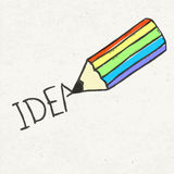 Pencil and idea word Stock Photography