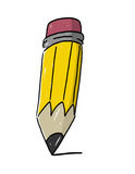 Pencil illustration. Isolated pencil illustration; Yellow Pencil with eraser cartoon; Writing pencil Royalty Free Stock Photo