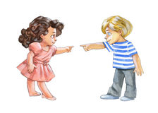 Pencil illustration of a boy and a girl Royalty Free Stock Photo