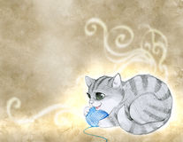 Pencil illustration of a cat Royalty Free Stock Images