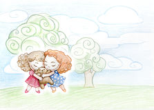 Pencil illustration of cute girls Royalty Free Stock Images