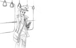 Pencil Illustration, Drawing of Young man traveling on metro tex Stock Photos