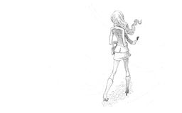 Pencil Illustration, Drawing of Young Woman in wind Royalty Free Stock Images