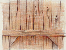 Pencil illustration of a wooden background Stock Photography