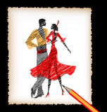 Pencil and the image of flamenco dancers. Dark background, black pencil, sheet of white paper and the image of abstract Spanish dancers flamenco Stock Photos