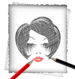 Pencil and the image of head Royalty Free Stock Image