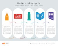 Pencil infographics design. Infographics design  and Pencil, Folder, Glue stick, Homework, Test icons can be used for workflow layout, diagram, annual report Stock Photography