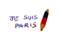 Pencil with the inscription JE SUIS PARIS in memory of the terrorist attacks. Pencil with the written JE SUIS PARIS in memory of the terrorist attacks in France royalty free stock photos