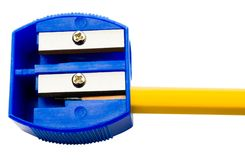 Pencil inside pencil sharpener Stock Photography