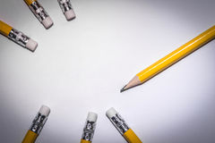 Pencil isolated on pure white background Stock Photos