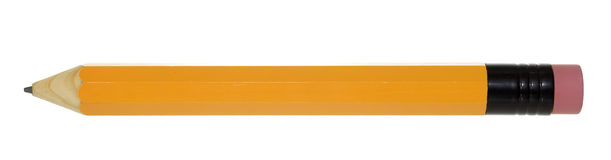 Pencil Isolated Side View. Extra Large yellow pencil with pink eraser isolated on white Stock Photos