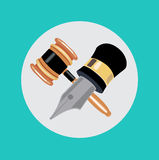 Pencil and judge gavel flat design vector. Icon Royalty Free Stock Photo