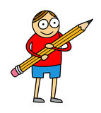 Pencil kid cartoon. Cartoon style illustration of little kid hugging a big pencil - isolated on white background Royalty Free Stock Photography