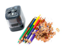 Pencil & knife-sharpener Royalty Free Stock Images