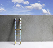 Pencil ladder leaning against grunge wall with copy space. succe Stock Images