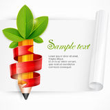 Pencil with leaves and ribbon Stock Images