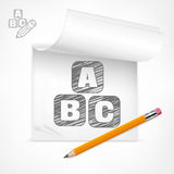 Pencil and letters in notepad Stock Photos