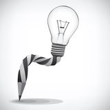 Pencil and light bulb, concept of idea Royalty Free Stock Photo