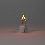 Pencil light bulb 3d as think outside of the box. As concept Stock Photo