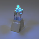 Pencil light bulb 3d as think outside of the box Stock Images