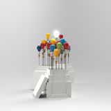 Pencil light bulb 3d as think outside of the box Stock Photos