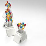 Pencil light bulb 3d as think outside of the box. And leadership as concept Royalty Free Stock Images