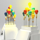 Pencil light bulb 3d as think outside of the box. And leadership as concept Royalty Free Stock Photo