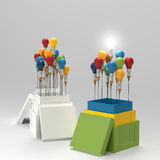 Pencil light bulb 3d as think outside of the box. And leadership as concept Royalty Free Stock Image