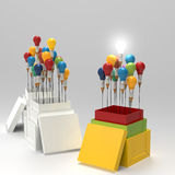 Pencil light bulb 3d as think outside of the box. And leadership as concept Royalty Free Stock Photos