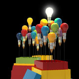 Pencil light bulb 3d as think outside of the box. And leadership as concept Stock Images