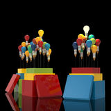 Pencil light bulb 3d as think outside of the box. And leadership as concept Stock Image