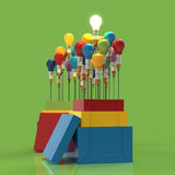 Pencil light bulb 3d as think outside of the box. And leadership as concept Stock Photos