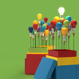 Pencil light bulb 3d as think outside of the box. And leadership as concept Stock Photography