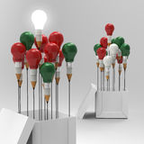 Pencil light bulb 3d as think outside of the box. And merry's christmas as concept Royalty Free Stock Photos