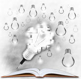 Pencil and light bulb on open book stock illustration