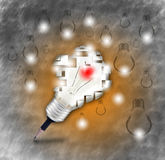 Pencil and light bulb symbol for new idea and creative, Royalty Free Stock Images