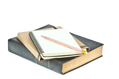 Pencil on Light cream color paper note book Stock Photo