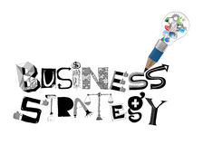 Pencil lightbulb 3d and design word BUSINESS STRATEGY Stock Photo