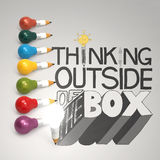 Pencil lightbulb 3d and design word THINKING OUTSIDE OF THE BOX Stock Photos
