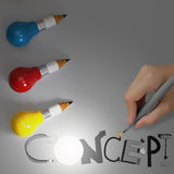 Pencil lightbulb 3d and design word CONCEPT Royalty Free Stock Images